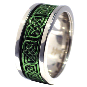 Two-Tone Shamrock Green and Stainless Steel Celtic Knot Spinner Ring