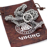 Viking Norse Thors Hammer Byzantine Chain Necklace Stainless Steel Viking Gift Pouch