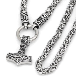 Viking Norse Thors Hammer Byzantine Chain Necklace Stainless Steel