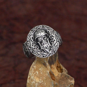 Viking Odin Ring Silver Stainless Steel Norse Knot Valknut Warrior Band On Stone