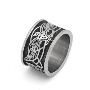 Viking Odins Raven Norse Wolf Ring Silver Stainless Steel Celtic Crow K9 Band