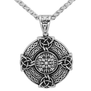 Viking Vegvisir Trinity Knot Cross Necklace Stainless Steel Celtic Norse Pendant