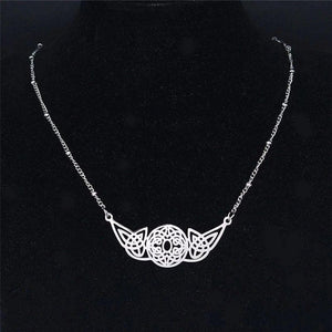Womens Celtic Circle Knot Necklace Silver Stainless Steel Norse Knotwork Hanging View