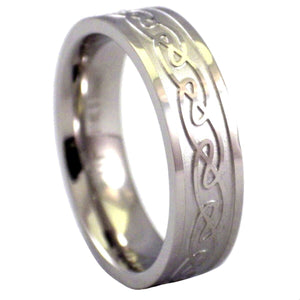 Close Up of Women's Celtic Knot Ring Stainless Steel Wedding Band