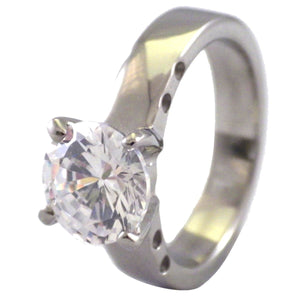 Large CZ Stone Solitaire Ring