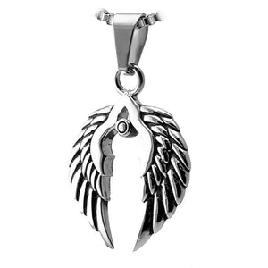 Women's Nordic Viking Valkyrie Wings Necklace Stainless Steel Pendant