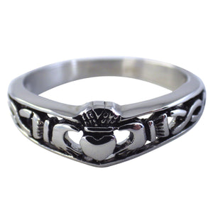 Women's Stainless Steel Claddagh Ring w/Celtic Knots