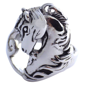Women's Stainless Steel Horse Ring - Hypoallergenic Equestrian Jewelry