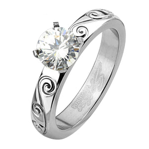 Women's Titanium Engagement Ring - 6mm Cubic Zirconia Solitaire