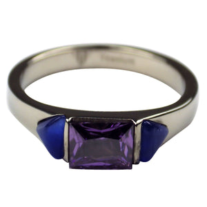 Women's Titanium Ring Purple Blue Faux Three Stone Band 1
