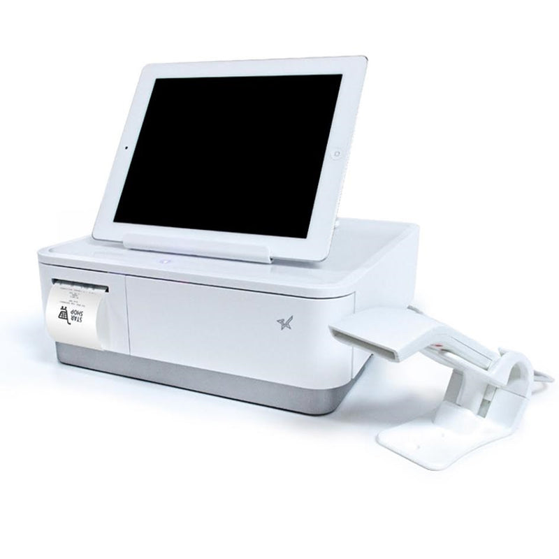 Star Micronics, mPOP with Scanner, White, Integrated Printer & Cash Drawer, Universal Tablet Stand, Int PS
