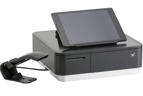 Star Micronics, mPOP with Scanner, Black, Integrated Printer & Cash Drawer, Universal Tablet Stand, Int PS