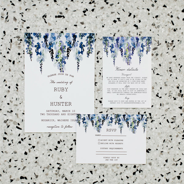 LAVENDER LINEN WEDDING INVITE/RSVP PACK