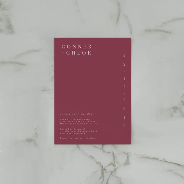 MINIMALIST SAVE THE DATE BURGUNDY
