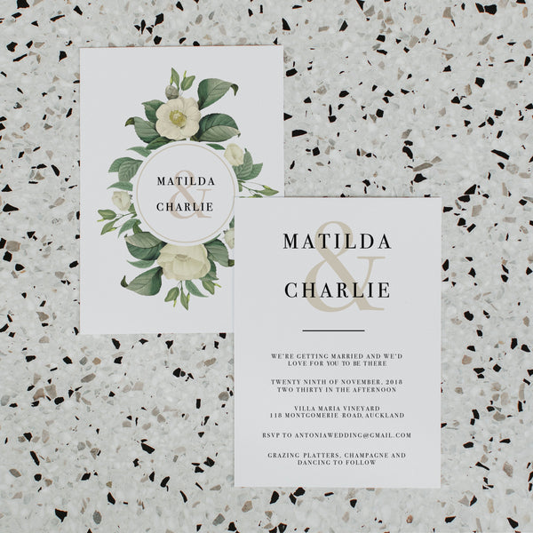 NUDE FLORALS WEDDING INVITE