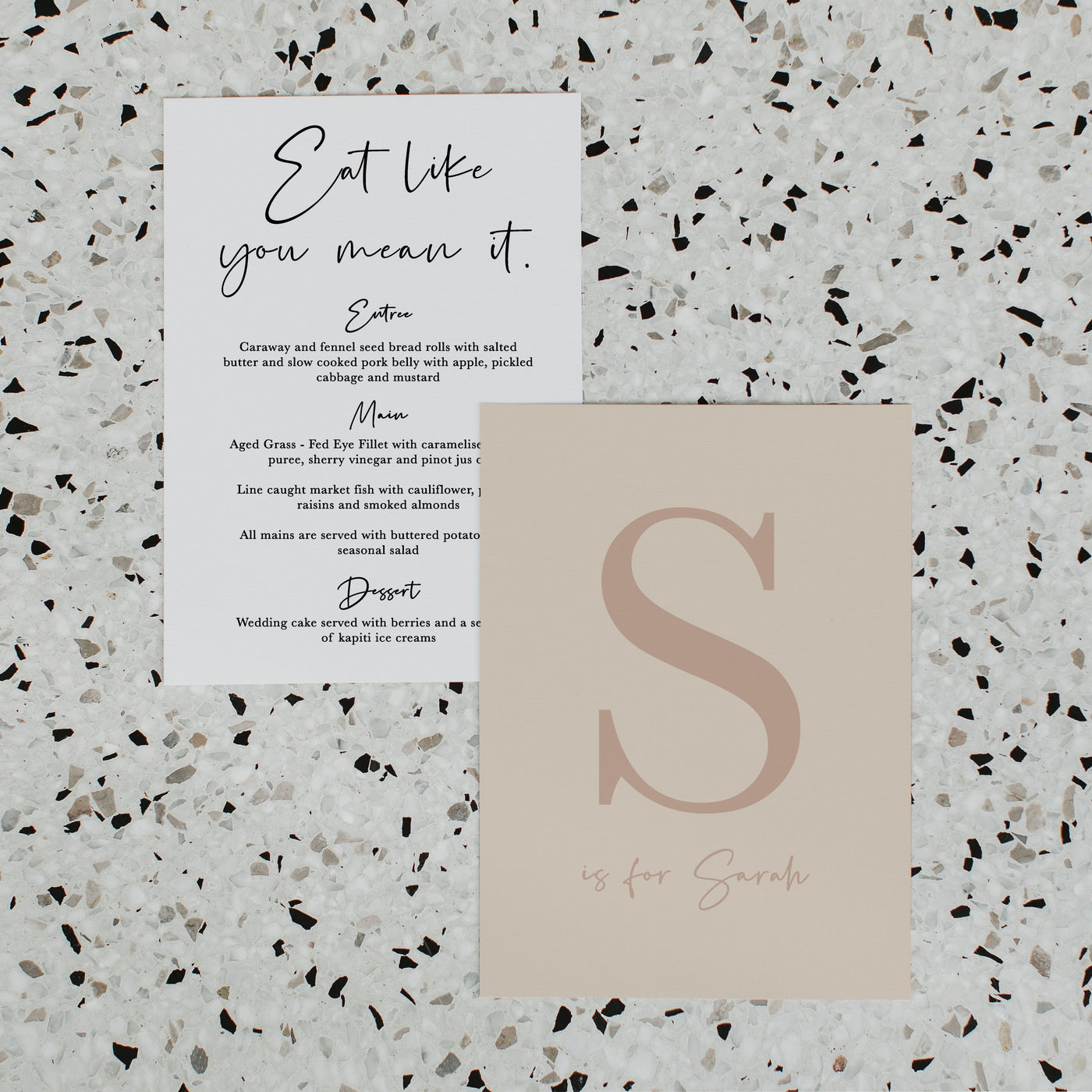 NEW YORK WEDDING MENU & PLACE NAME SET NATURAL
