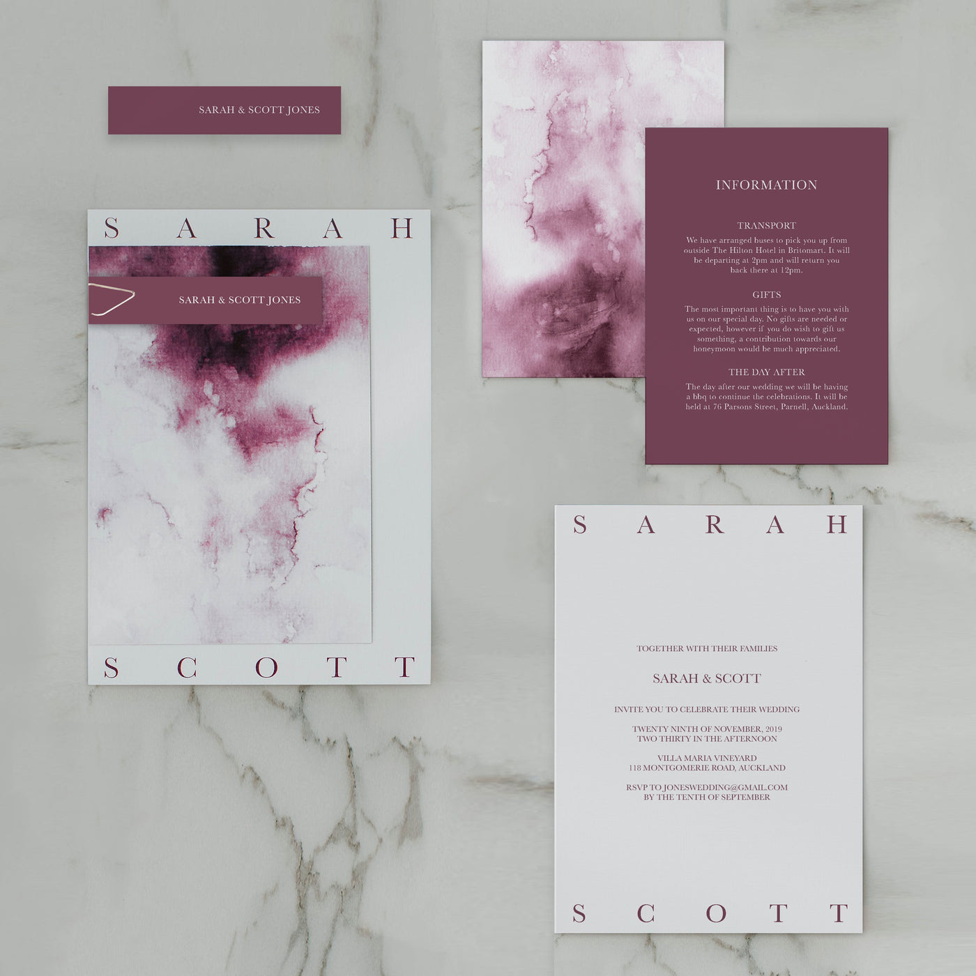 WATERCOLOUR WEDDING INVITE SET BURGUNDY