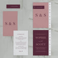 NEW YORK WEDDING INVITE SET BURGUNDY
