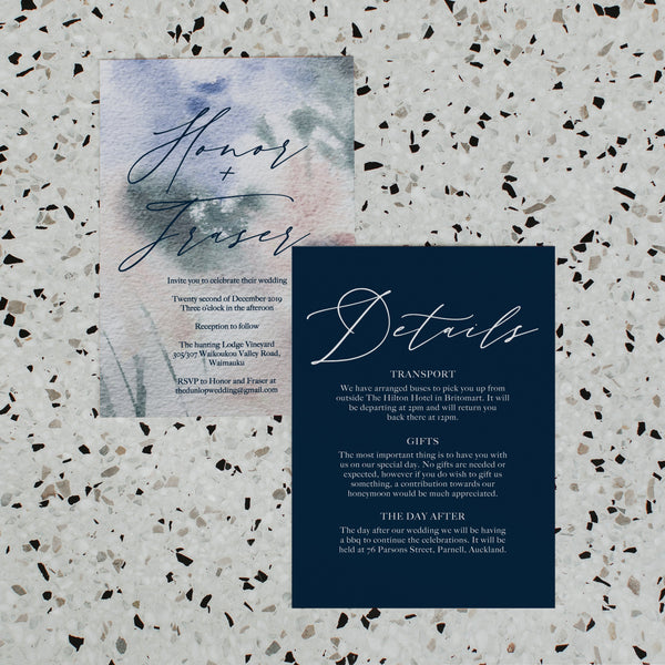 PAINTED WATERCOLOUR WEDDING INVITE/INFORMATION SET NAVY