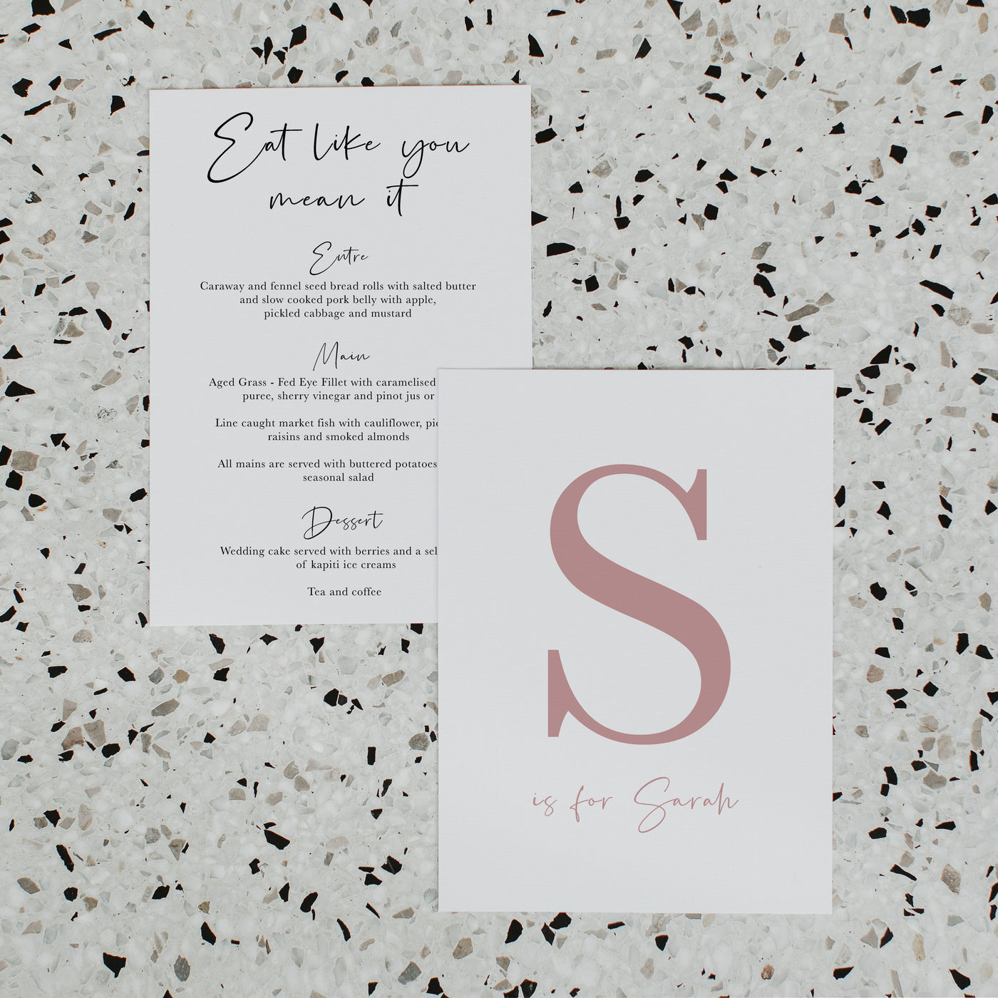 NEW YORK WEDDING MENU & PLACE NAME SET PINK