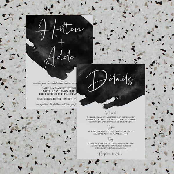 BLACK INK WEDDING INVITE/INFORMATION SET