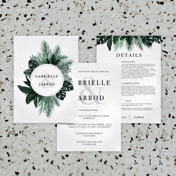 GREENERY LINEN WEDDING INVITE/INFORMATION SET