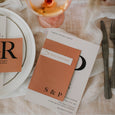 INITIAL WEDDING INVITE SET RUST / GREY
