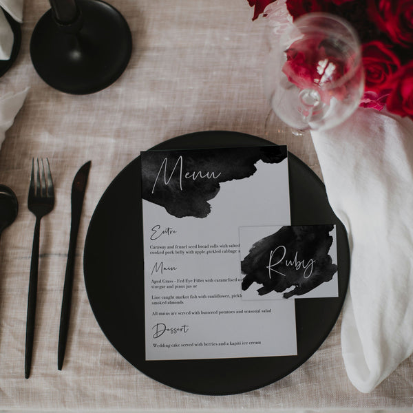 BLACK INK WEDDING MENU & PLACE NAME SET