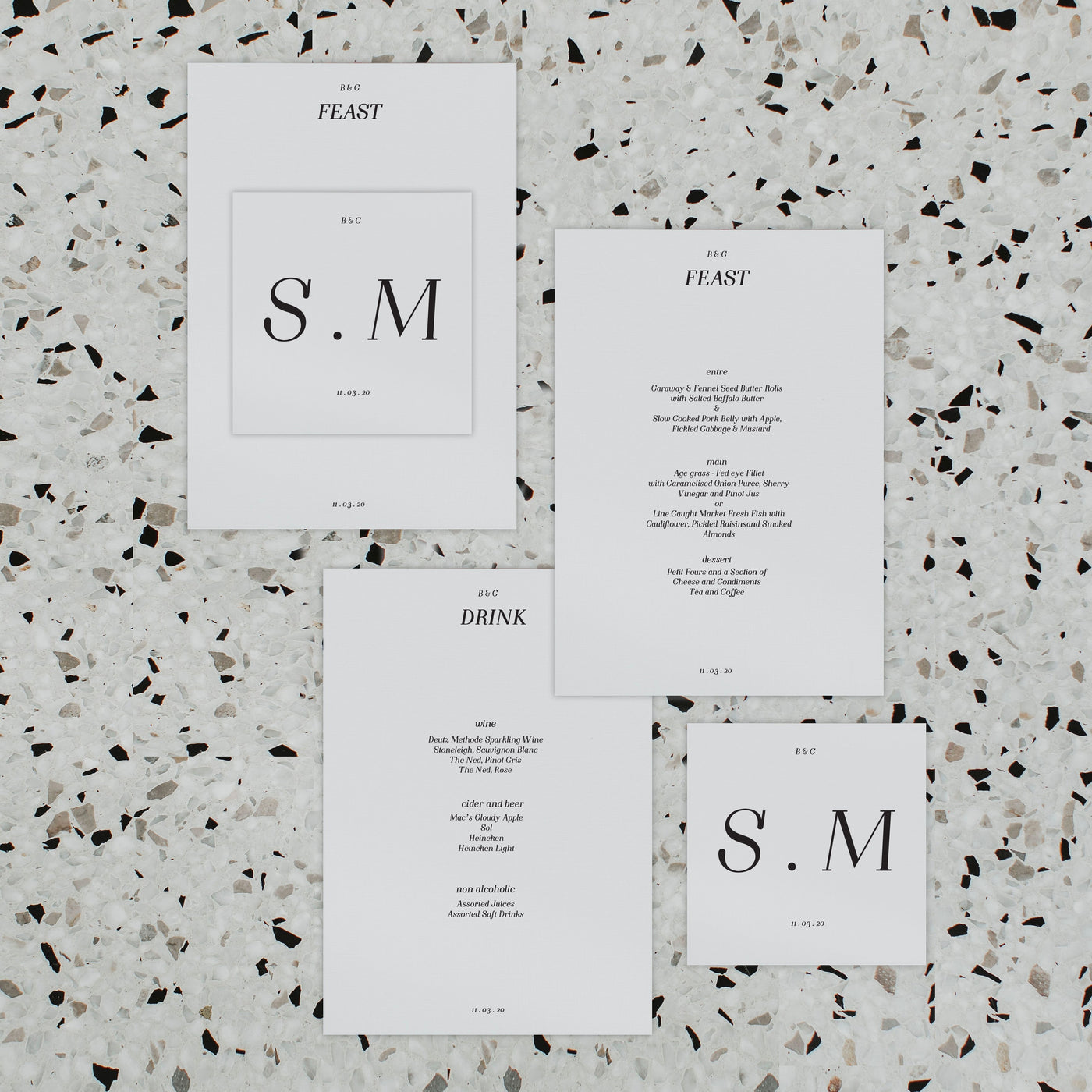 MAGGIE WEDDING MENU & PLACE NAME SET