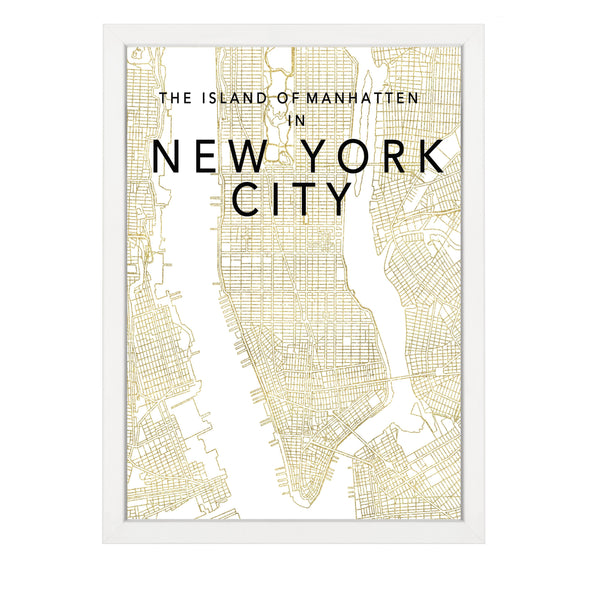 NEW YORK MAP GOLD PRINT