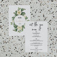 NUDE FLORALS LINEN WEDDING MENU AND PLACE NAME