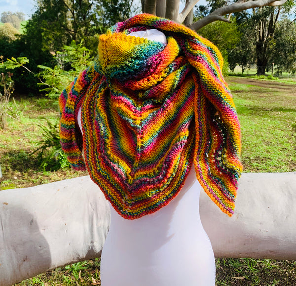 Rainbow Knitted Shawl