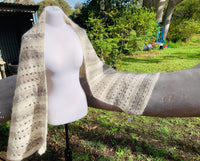 Mohair blend crocheted rectangle shawl.