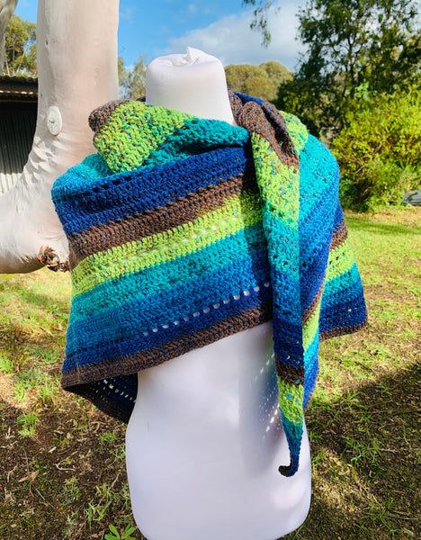 Blue Green Triangle Crochet Shawl