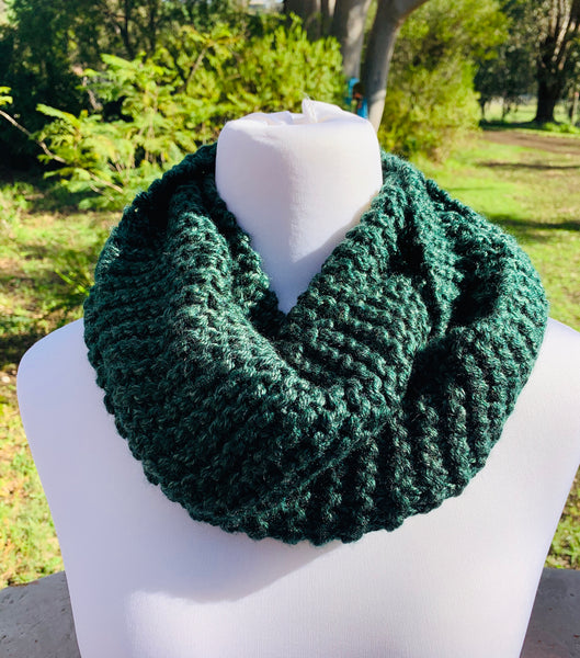 Dark Green Knitted Cowl