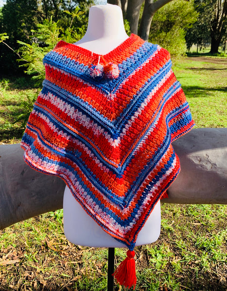 3-4 yr old Crocheted Poncho