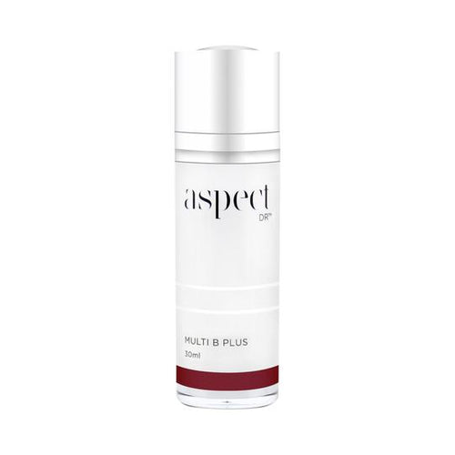 Aspect DR Multi B Plus-Cove Medispa-Skincare-treatments-Australia-Perth-Description: Powerhouse B serum. Tocopherol Acetate | A powerful antioxidant that hydrates the skin. Homeo-ShieldTM (Fucus Serratus Extract) | Derived from a brown algae, supports skin barrier function. Vitazymes B Complex | A polypeptide blend of B vitamins that combines Niacinamide, Panthenol and Folic Acid. Homeo-SootheTM(Ascophyllum Nodosum Extract) | A calming extract from a brown seaweed. Application: Dispense 1 pump a