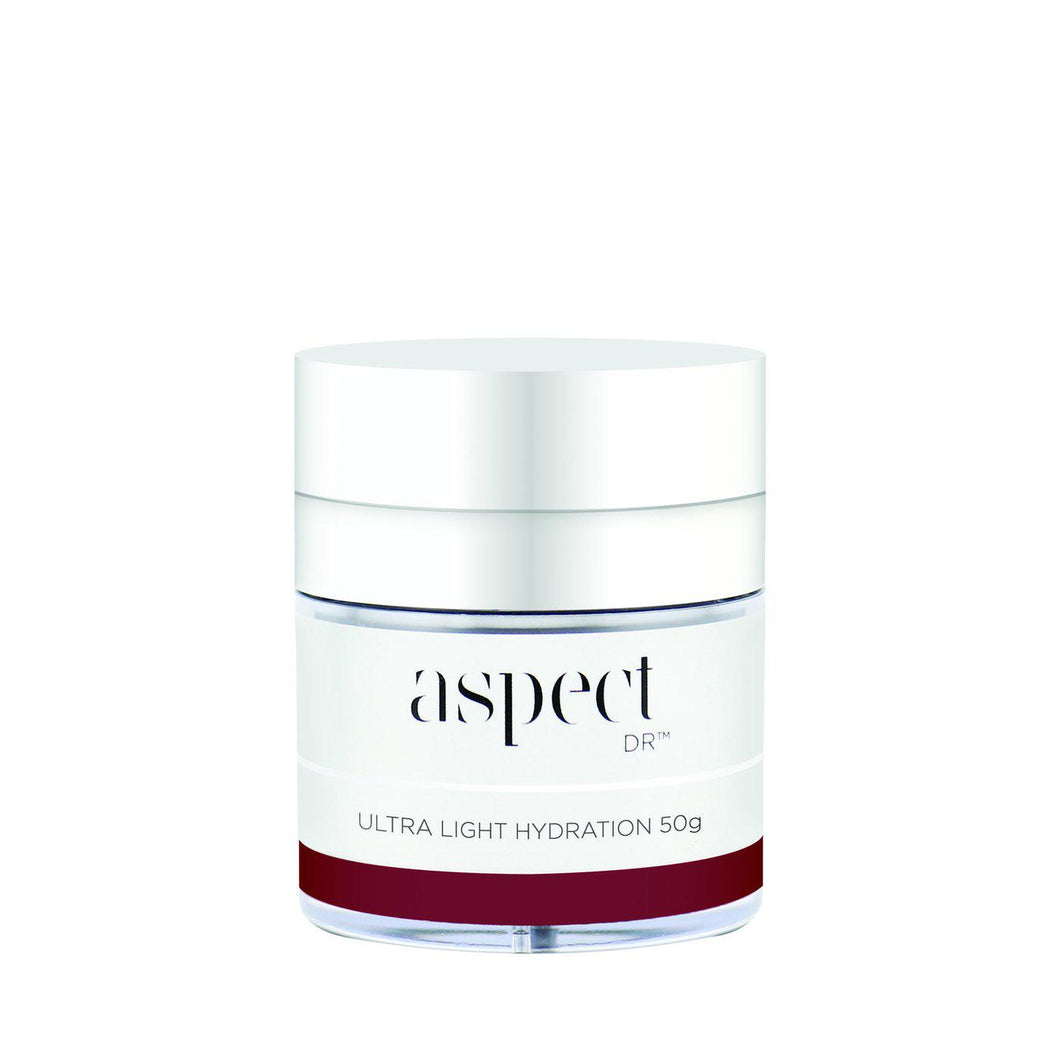 Aspect DR Ultra Light Hydration-Cove Medispa-Skincare-treatments-Australia-Perth-Description: A lightweight moisturiser. Suitable Skin Types: All skin types, excess oil, problematic, sensitive. Application:  Gently massage a pearl sized amount over face, neck and décolletage after serums.