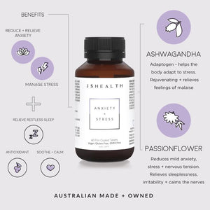 JSHealth- Anxiety & Stress Support-Cove Medispa-Skincare-treatments-Australia-Perth-Anxiety + Stress - 60 TabletsVegan. Gluten-Free. GMO-Free JSHealth believes in truly nurturing the body and nourishing it with the right nutrients and herbs to reach its full potential. Relieve anxiety, stress and nervous tension and feel calm and relaxed with these vitamins for stress and anxiety! This natural remedy for anxiety will leave you feeling zen, and ready to combat anything that comes your way! ANXIET