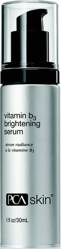 PCA B3 Brightening Serum-Serums-Cove Medispa-Skincare-treatments-Australia-Perth-Age, Brighten, Hydration, PCA, Pigment-Description: A multifunctional serum formulated to target all signs of discoloration. Combining Niacinamide and a cutting-edge complex of Mulberry Extract, Green Tea Extract, Oligopeptide-51and Plankton Extract, these ingredients work to combat the appearance of dark spots, dullness, and redness. Directions: After cleansing, apply two pumps to face and neck. Follow with the app