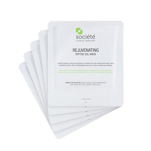 Societe Peptide Sheet Mask-Cove Medispa-Skincare-treatments-Australia-Perth-Description: Developed for use to calm and moisturize the skin and repair and restore the barrier function KEY BENEFITS: Reduces the appearance of redness & puffiness and fine lines with a refreshing, cooling effect. SUITABLE FOR: All skin types.Especially after dermal needling, microdermabrasion, peels, laser and more.