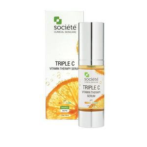 Societe Triple C-Cove Medispa-Skincare-treatments-Australia-Perth-Description: Much more than just a Vitamin C serum!A revolutionary blend of three different, unique stabilised Vitamin Cs. KEY BENEFITS: Maximum results with a triple blend of Vitamin C. Apple Stem Cells combat signs of ageing. KEY INGREDIENTS: Sodium Ascorbyl Phosphate, Magnesium Ascorbyl Phosphate, Ascorbyl Glucoside. Palmitoyl Tripeptide–5, Palmitoyl Oligopeptide, Palmitoyl Tetrapeptide–7, Myristoyl Nonapeptide–3, Syn®–Coll, Gl