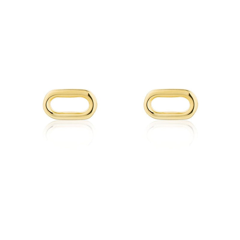 Oval Wire Stud Earrings - Yellow Gold