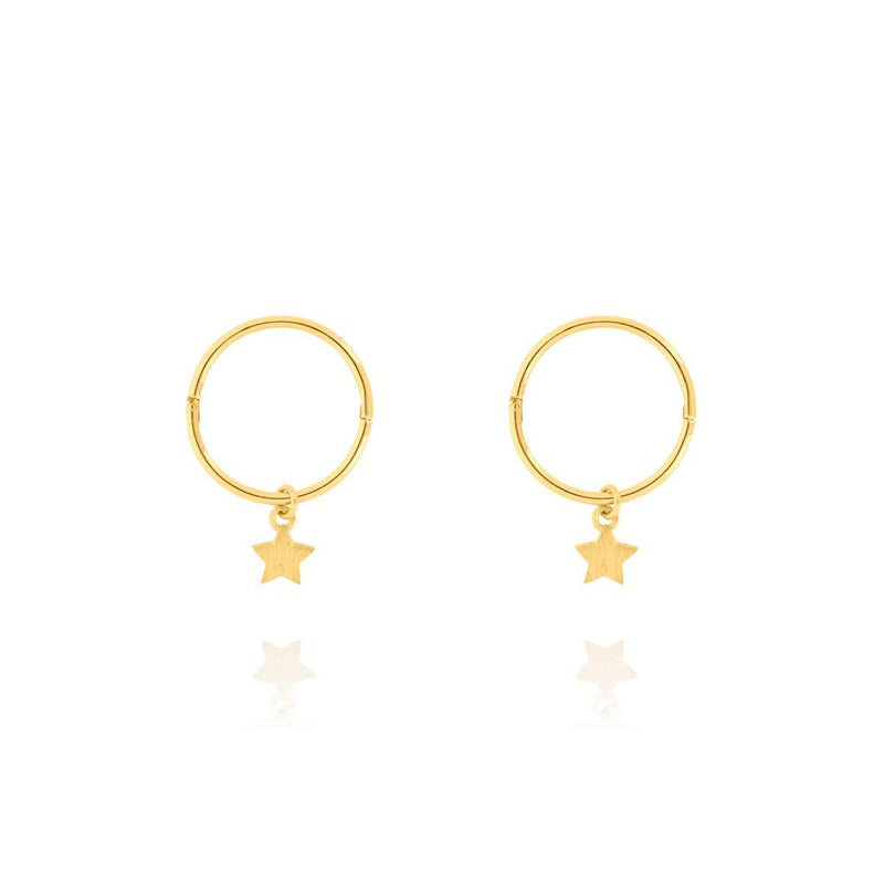 Tiny Star Sleeper Hoop Earrings - Sterling Silver