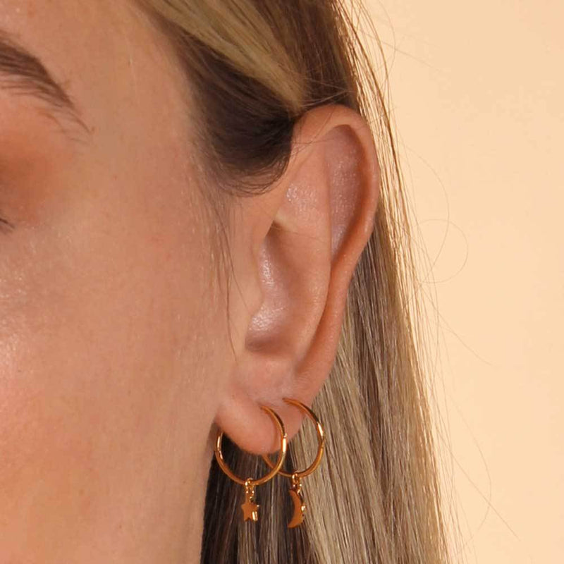 Tiny Star Sleeper Hoop Earrings - Yellow Gold Plated Sterling Silver