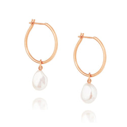 Baroque Pearl Willpower Hoop Earrings - Rose Gold Plated Sterling Silver