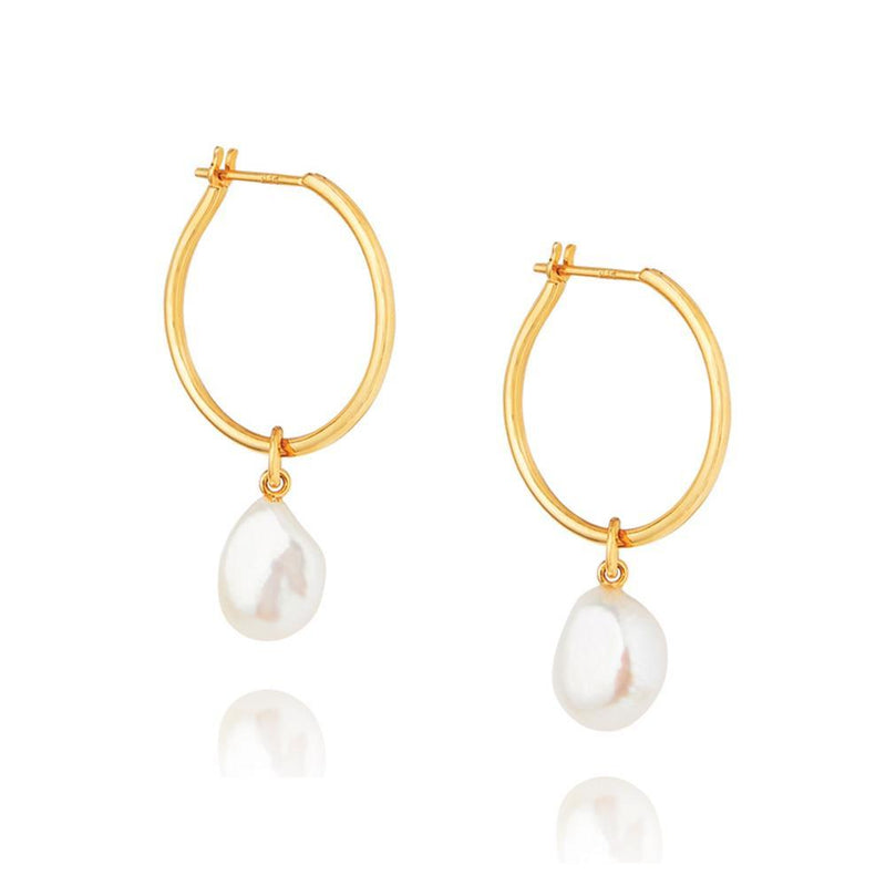 Baroque Pearl Willpower Hoop Earrings - Yellow Gold Plated Sterling Silver