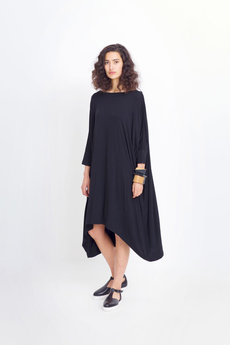 Wide Stretch Dress - Black