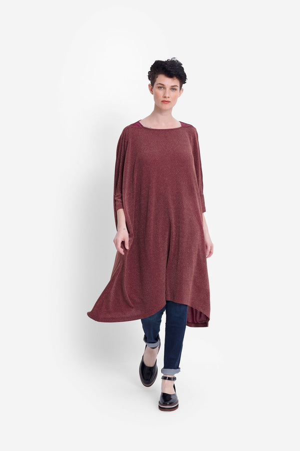 Wide Stretch Dress - Red Rust Metallic