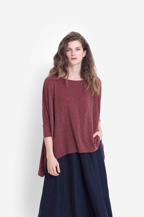 Wide Stretch Top - Red Rust Metalllic